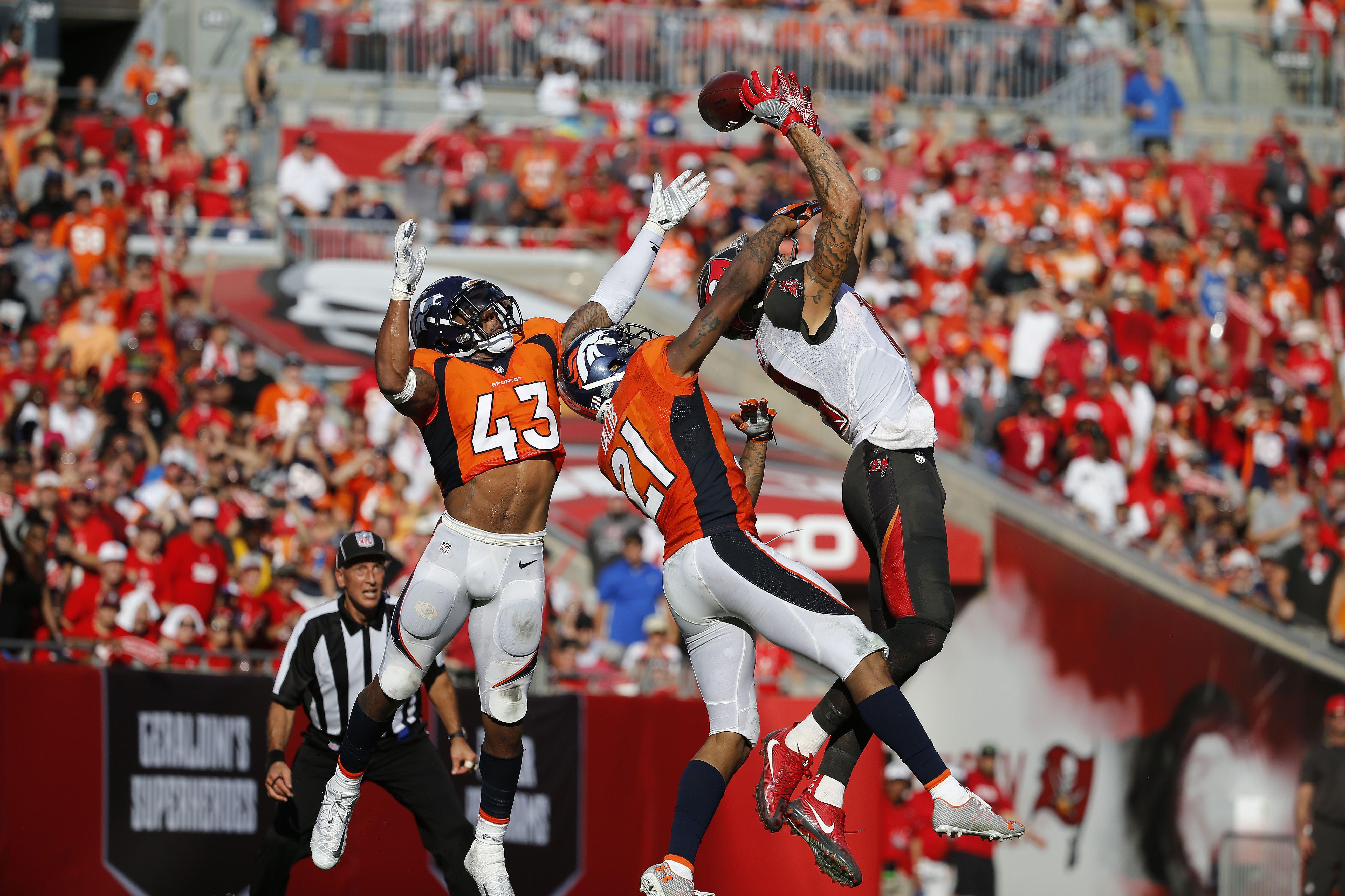 Oct 2 2016 Tampa Fl Usa Denver Broncos Strong Safety T J Ward 43 And Cornerback Aqib Talib 21 Break Up A Mike Evans Raymond James Stadium Aqib Talib