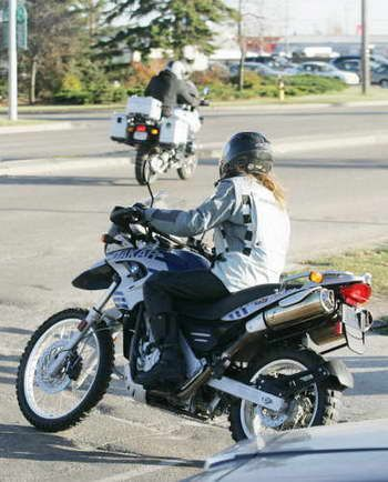Angelina Jolie on a BMW Dakar motorcycle.
