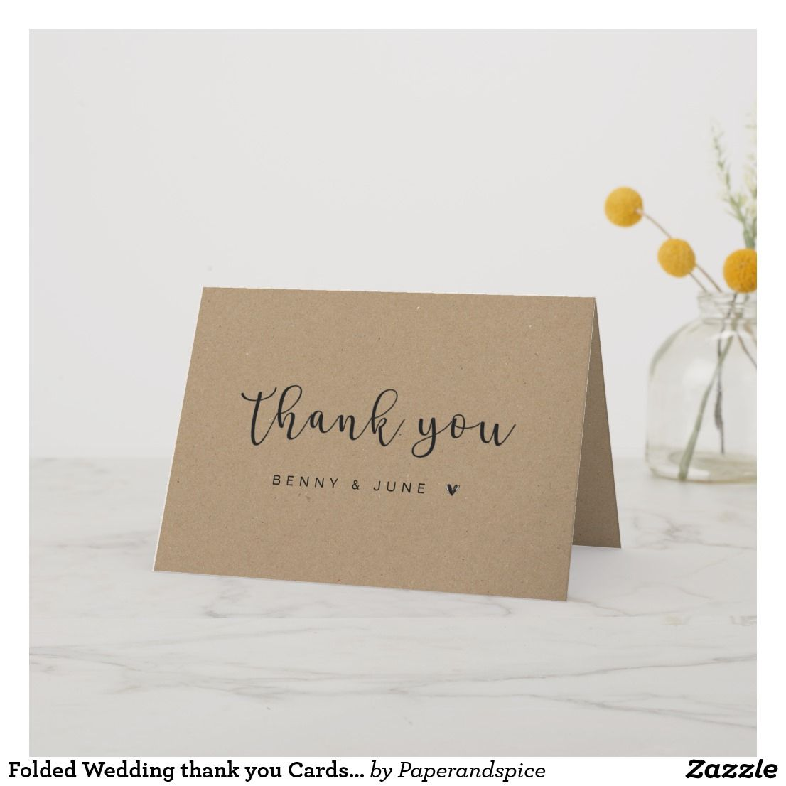 Folded Rustic Wedding Thank You Cards