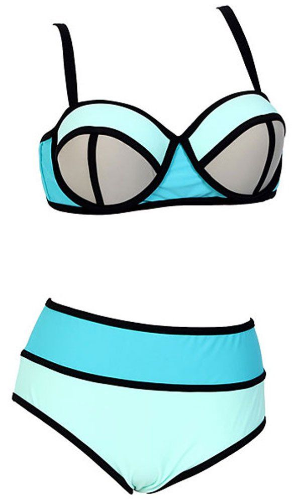 a130a72fd59 Women's Plus Colorful High Waisted Diving Suit Neoprene Push up Bikini  Swimsuit at Amazon Women's Clothing store: