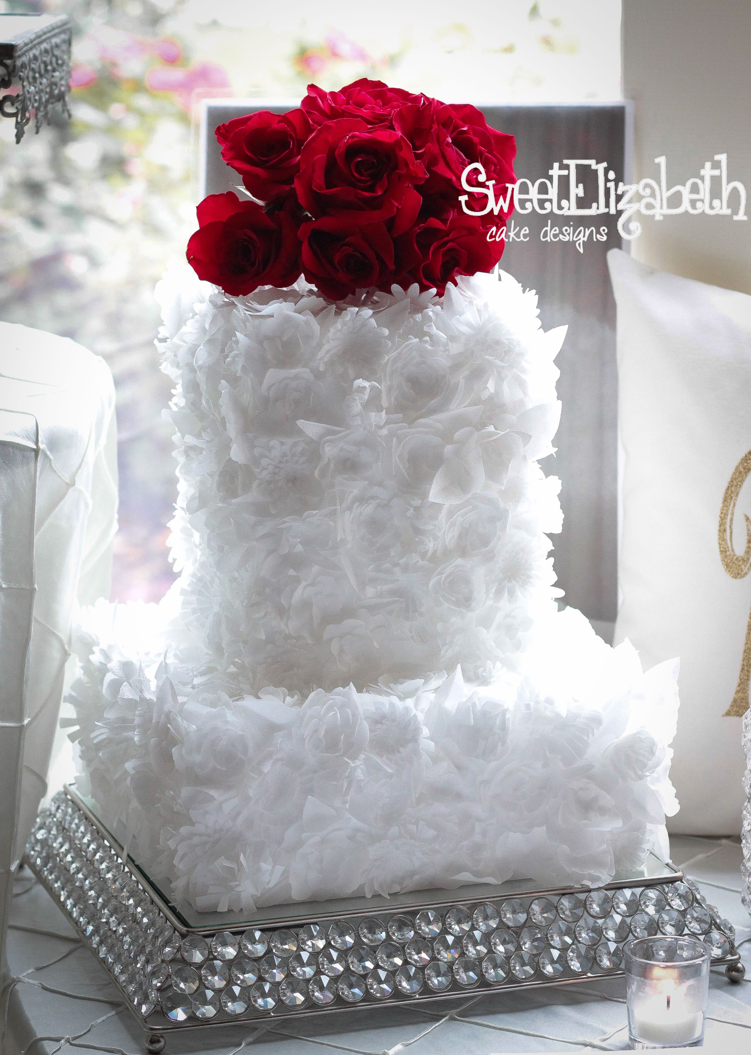 Floral Wedding Cake Edible Wafer Paper Flowers White Texture