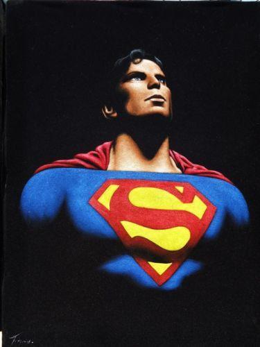 Superman the man of steel black velvet oil by VelvetPaintings, $135.00