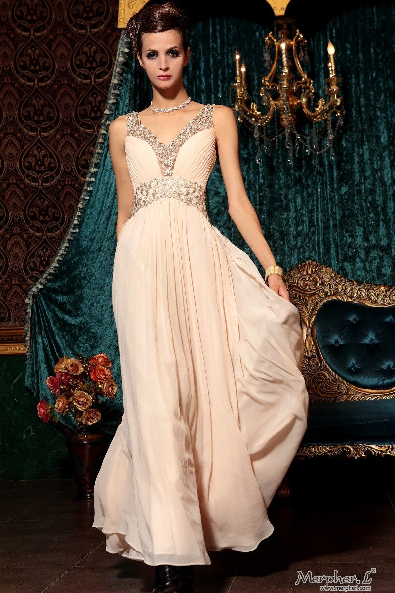Peach Puff V-neck Chiffon Beading Beaded Gowns Long Formal Evening ...