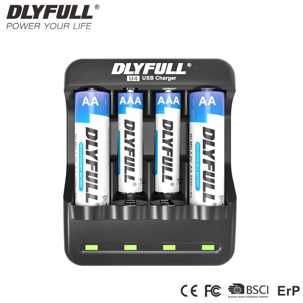 Dlyfull U4 Aaa Battery Charger Aa Nimh Charger 4 Slot 1 2v Nicd
