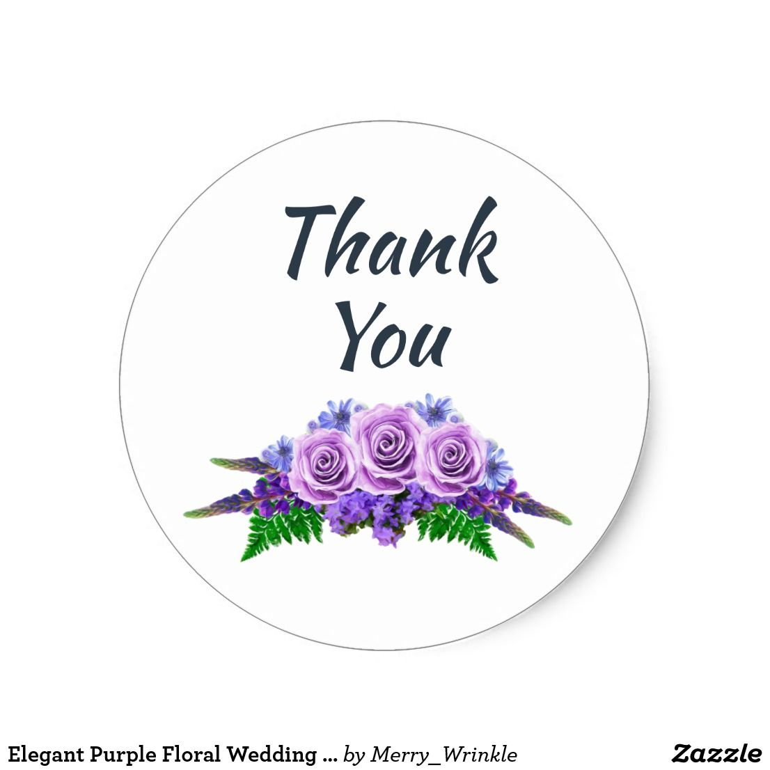 Elegant Purple Floral Wedding Thank You Classic Round