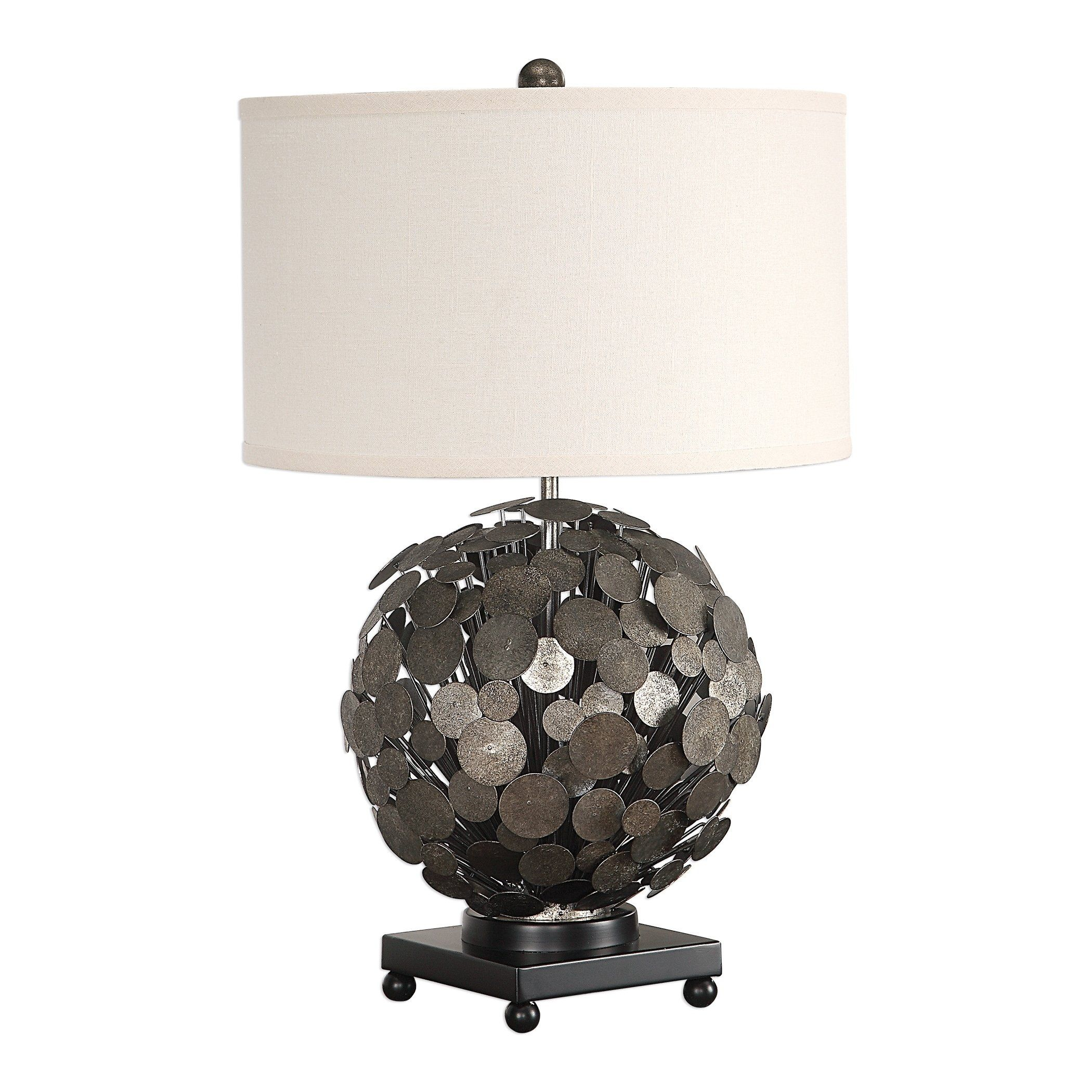 Uttermost Callisto Metallic Silver 1 Light Steel Disk Table Lamp