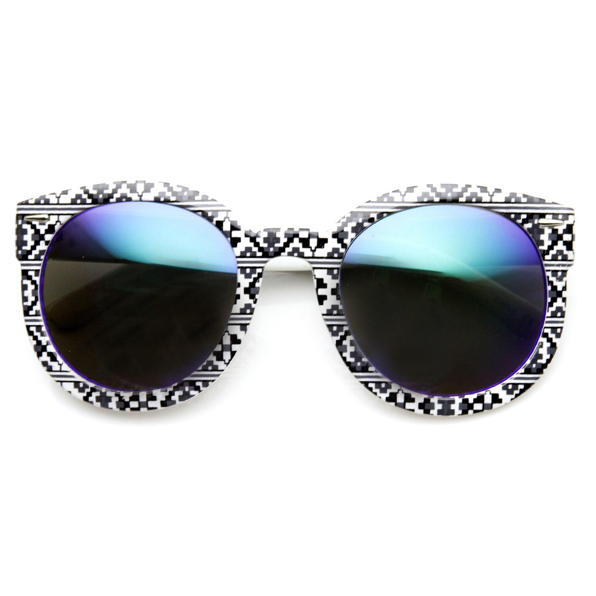 4b1ee429eaf Indie Women s Native Print Flash Mirrored Lens Round Sunglasses 9380 ...