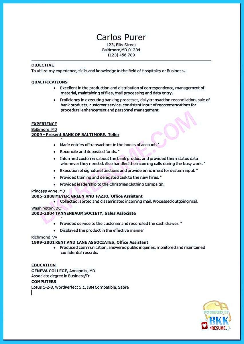 Resume Bank Teller Nice Learning To Write From A Concise Bank Teller Resume Sample .