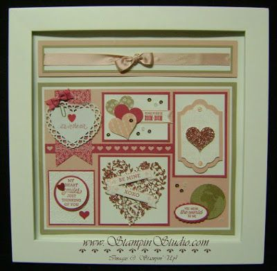 "Stampin' Studio, Stampin' Up! Bloomin' Love Framed Art.  Check out my blog for more photos of this 12"" x 12"" piece of home decor.  Perfect for Valentines Day or a wedding"