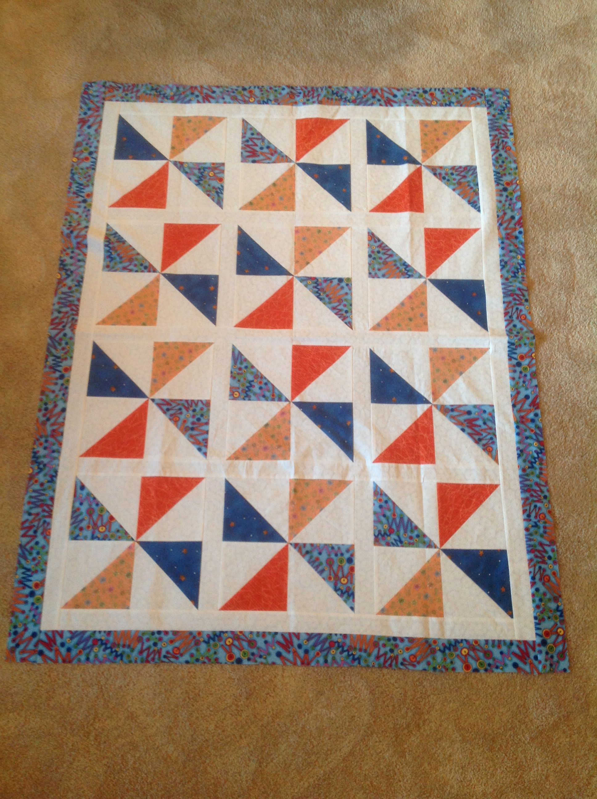 Another baby quilt top made with pinwheel block.  Ready for quilting.