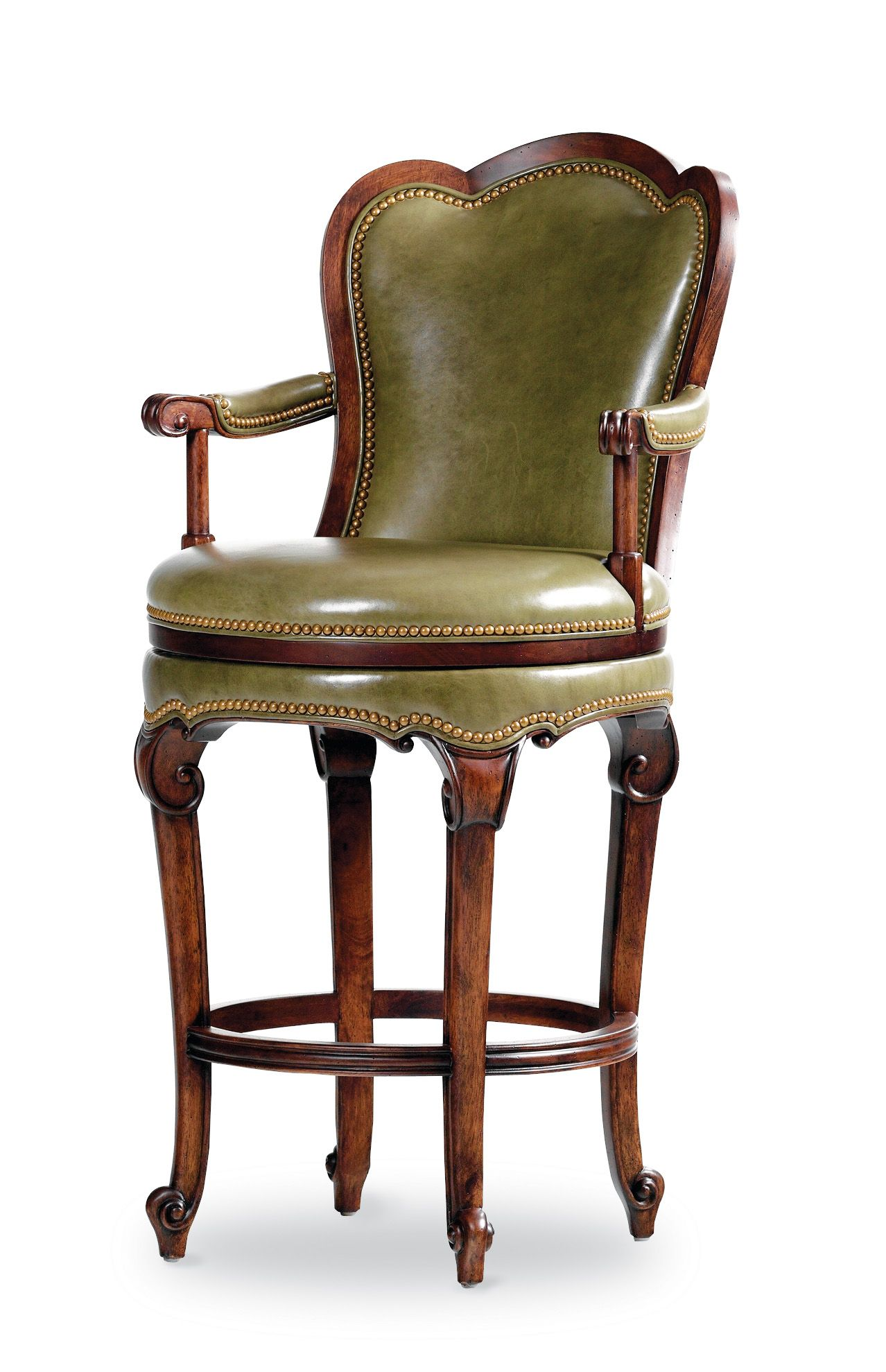 Have To Have It Bolton 30 Inch Swivel Bar Stool With Arms Chestnut 299 99 Bar Stools Cool Bar Stools Leather Swivel Bar Stools