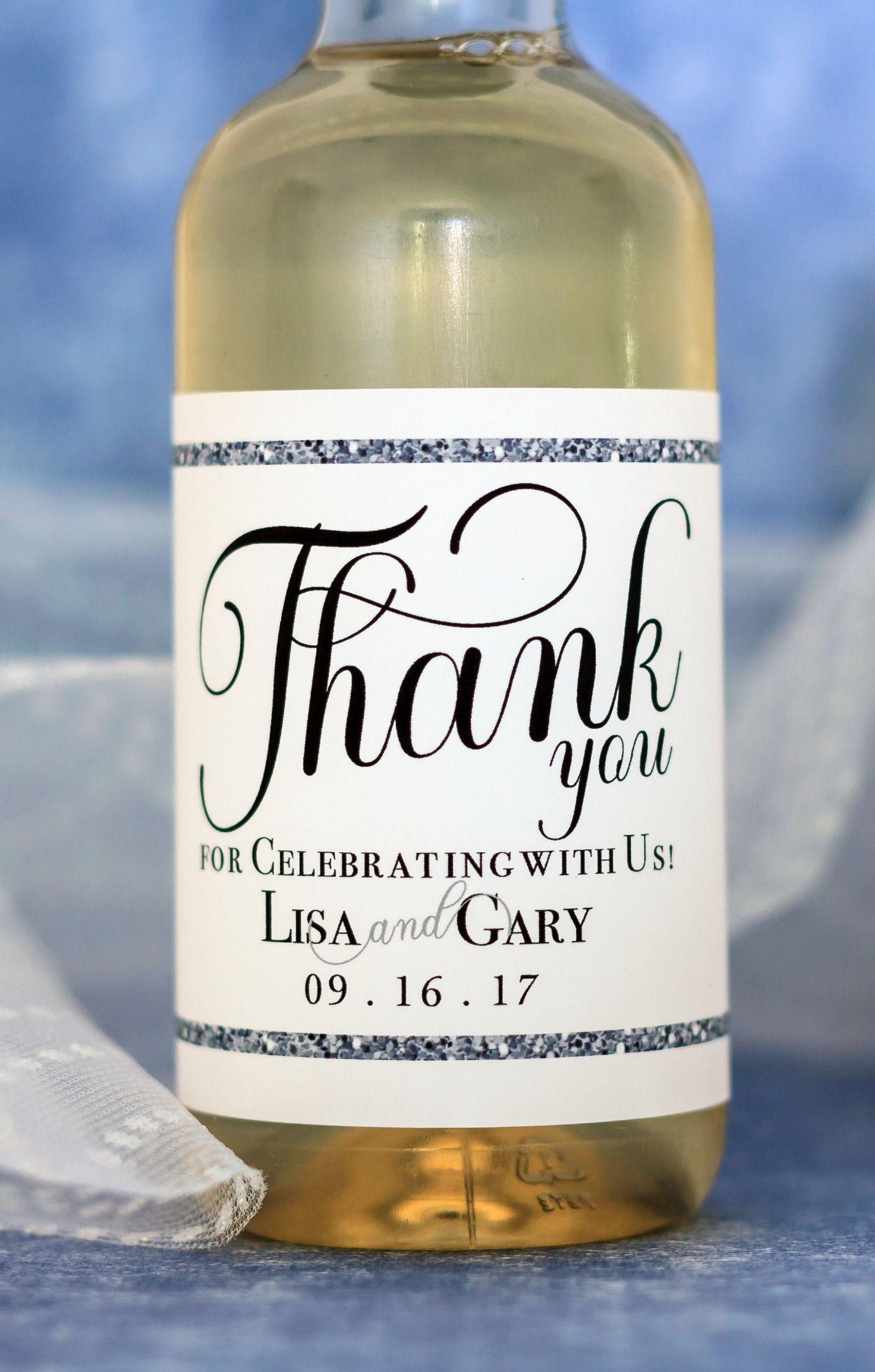 Silver Glitter Wedding Mini Wine Labels Custom Wedding Favors