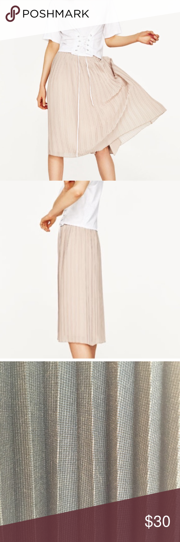 0495d3ed05 Zara knit knife pleat midi skirt in gold. Zara midi skirt with knife  pleats. Knit in size M. Not lined. Is somewhat sheer so a slip is  recommended.