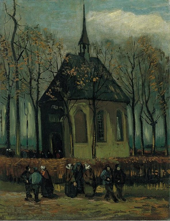 """Van Gogh, Congregation Leaving the Reform Church in Nuenen, Jan-Feb 1884 and Autumn 1885. Oil on canvas, 41.3 cm x 32.1 cm. Location unknown. This painting -- along with Van Gogh's """"View of the Sea at Scheveningen"""" -- was stolen from the Van Gogh Museum on December 7, 2002. Although two men were captured and convicted of the crime, the paintings themselves have not been recovered."""