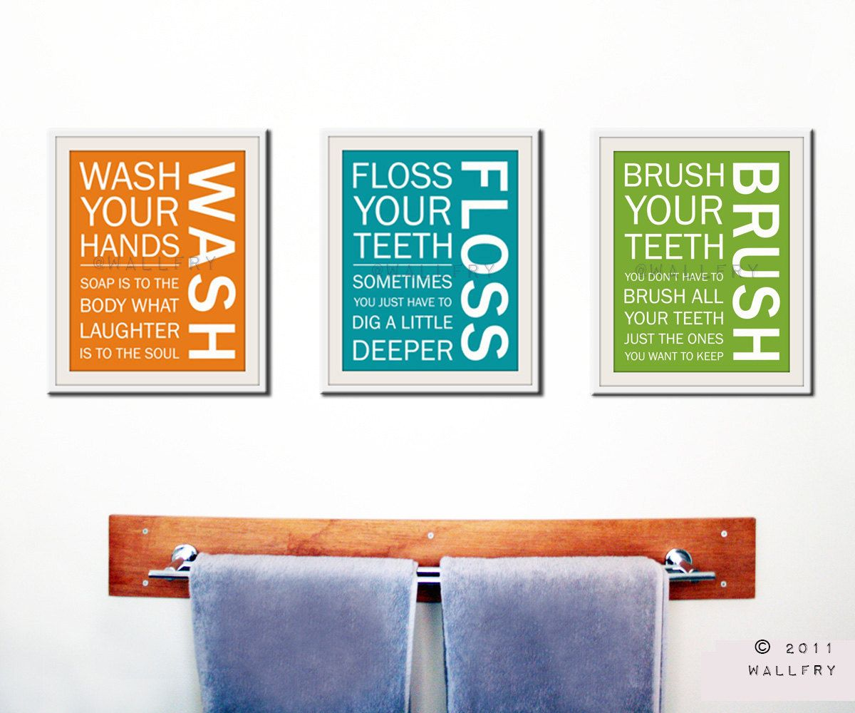 Kids Bath Wall Art. Bathroom Rules. Bathroom Prints Wash Brush Floss Flush.  Typography