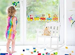 Eisenbahn Fenstersticker, Zug mit Tiere Kinderzimmer