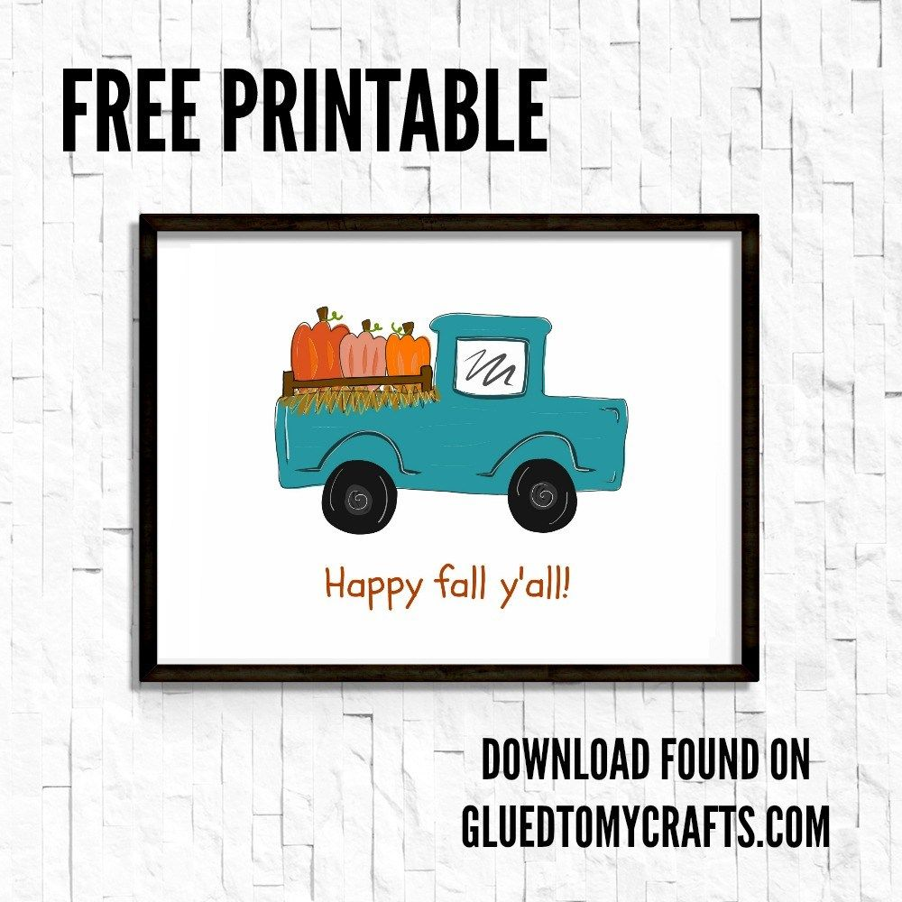 Happy Fall Y'all  Farm Truck Printable is part of Happy fall yall sign, Happy fall y'all, Happy fall, Farmhouse fall, Farm trucks, Fall classroom door - Trucks are trending this fall season, so I hope you are inspired to add this handdrawn Happy Fall Y'all Farm Truck print to your home decor