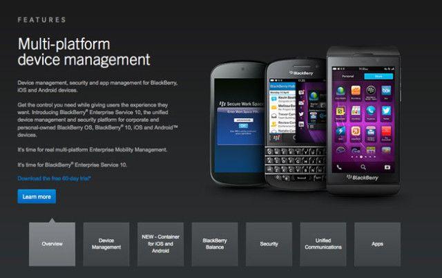 شركة بلاك بيري تقدم برمجية أمنية التقنية بلس Device Management Blackberry Os Blackberry