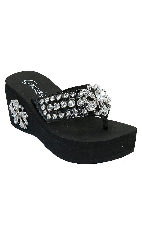 Black sandals bling - Grazie Ladies Ferriswheel Black With Flower Bling Flip Flops Cavenders Boot City