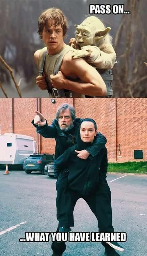 Pass On What You Have Learned Luke And Yoda In Star Wars Funny Star Wars Memes Star Wars Humor Star Wars Jokes