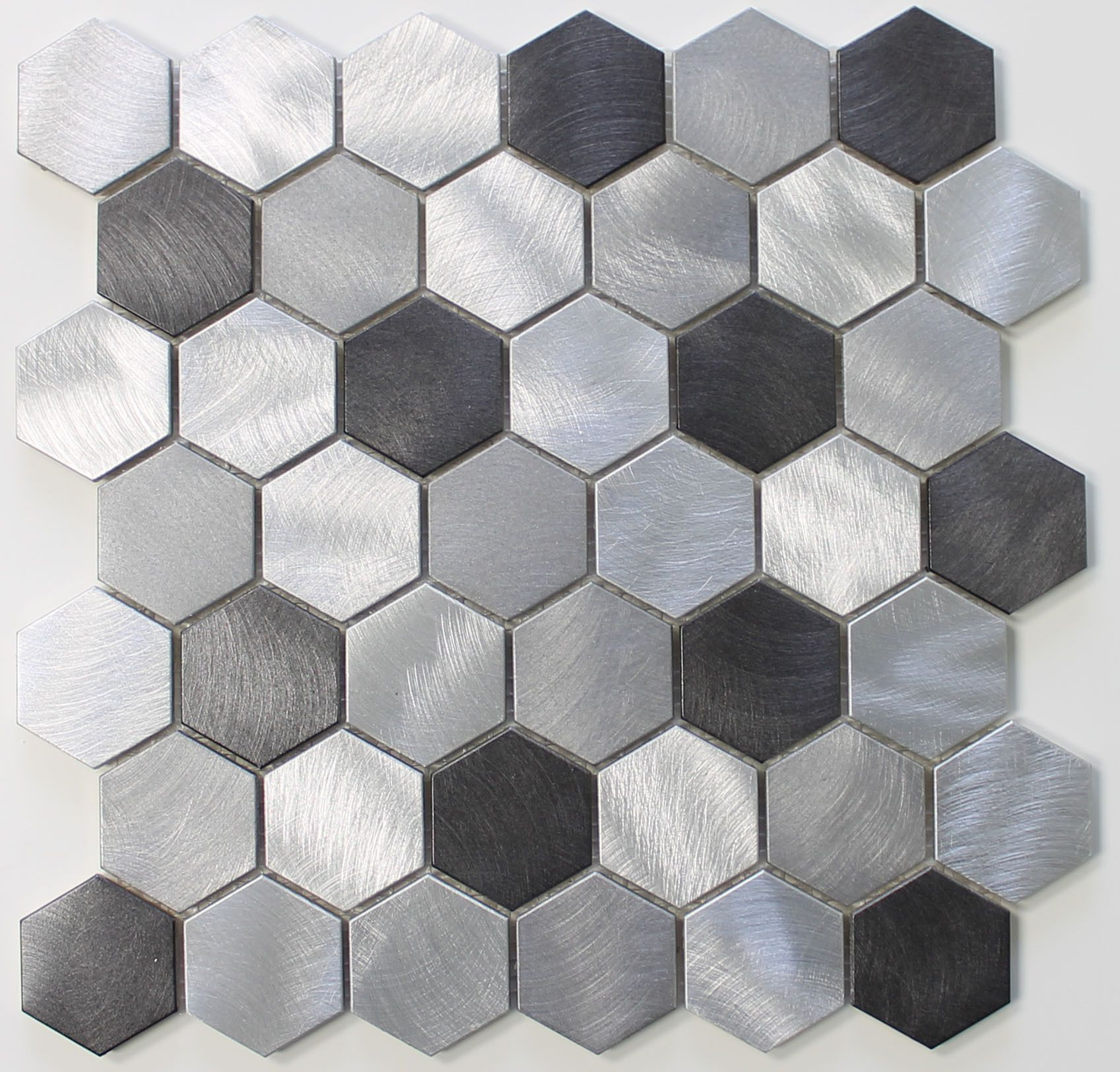 Uptown brushed aluminum 2 inch hexagon mosaic tiles hexagon uptown brushed aluminum 2 inch hexagon mosaic tiles dailygadgetfo Gallery