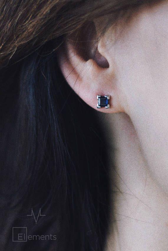 6895a69c7a5be 14K Sapphire Gold Earrings Krypton (Kr), Sapphire Stud Earrings ...