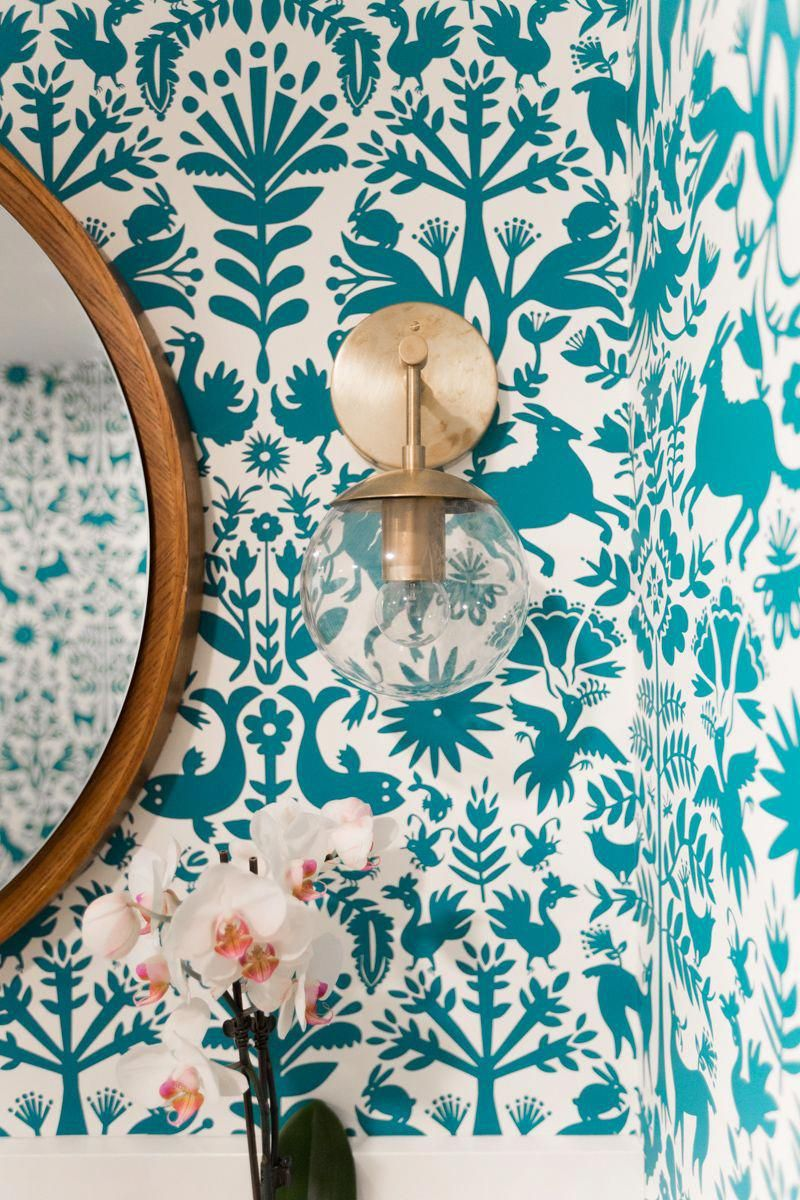 Bright bathroom reno by Wit & Delight | Ellerbe Sconces by Schoolhouse Electric #bathroomwallpaper #schoolhouseelectric