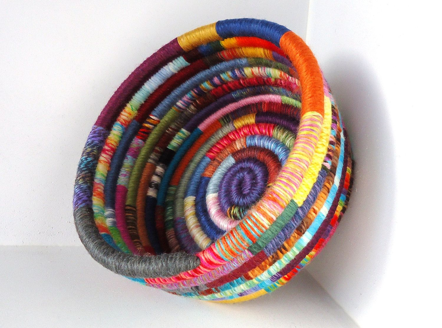 How To Make A Woven Yarn Basket : Handmade basket colorful yarn coiled multicolored