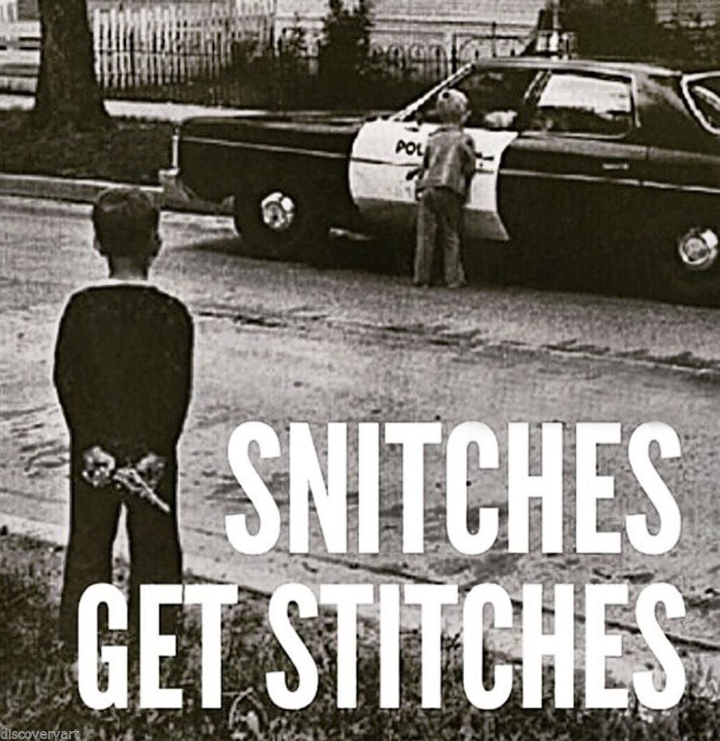 Gangster Quotes About Life Snitches Get Stitches Stretched Canvas Wall Art Poster Print