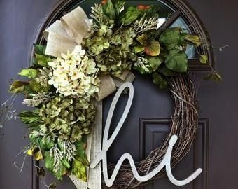 Year Round Cream Hydrangea Wreath for Front Door  Grapevine Wreath with Burlap and Initial  Monogram Everyday Wreath  BEST SELLING Year Round Cream Hydrangea Wreath for F...