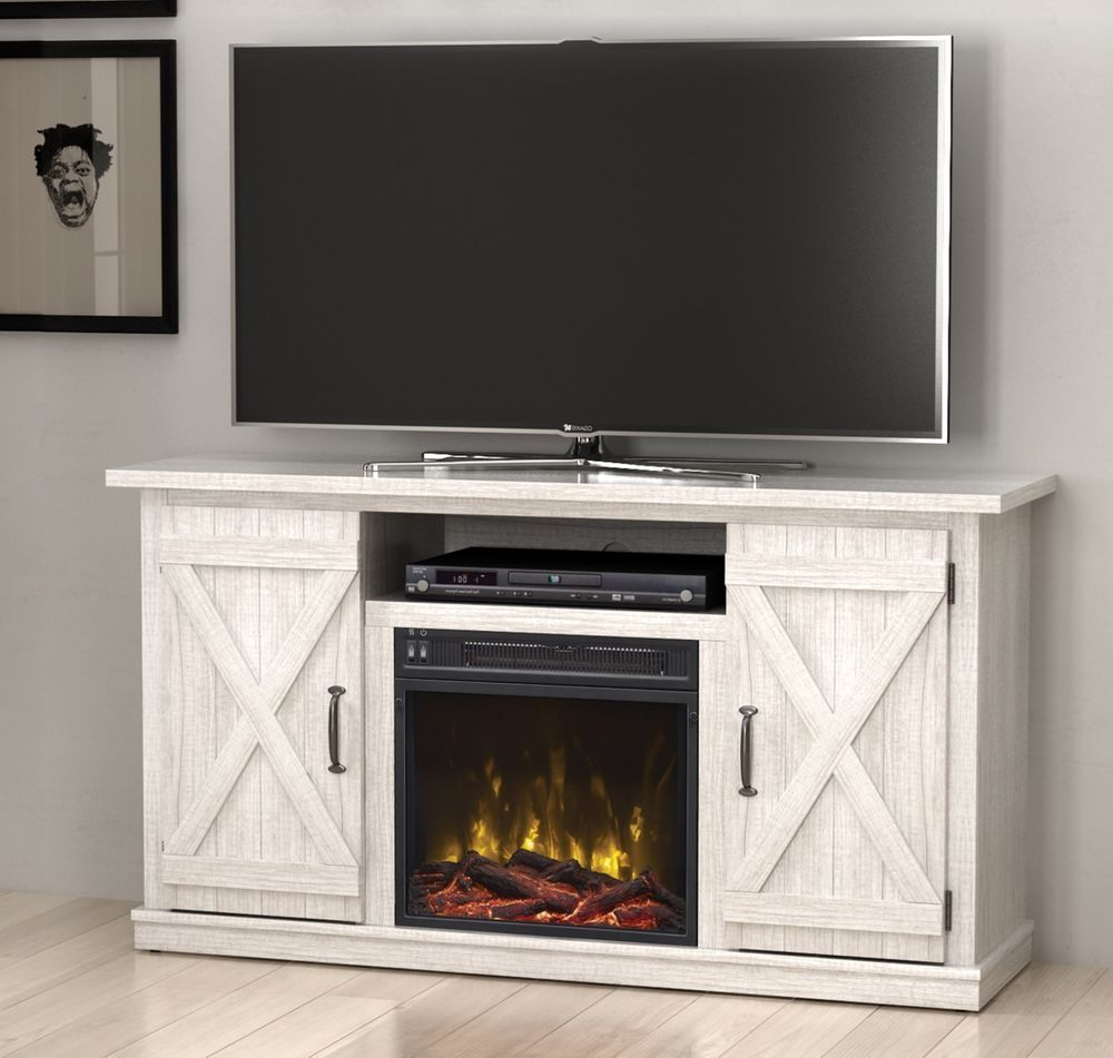 White Fireplace TV Stand Media Console Rustic Adustable