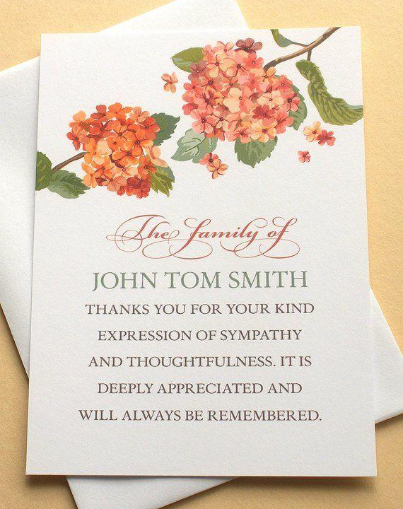 Sympathy Thank You Notes with Two Peach Hydrangeas - Custom -FLAT ...