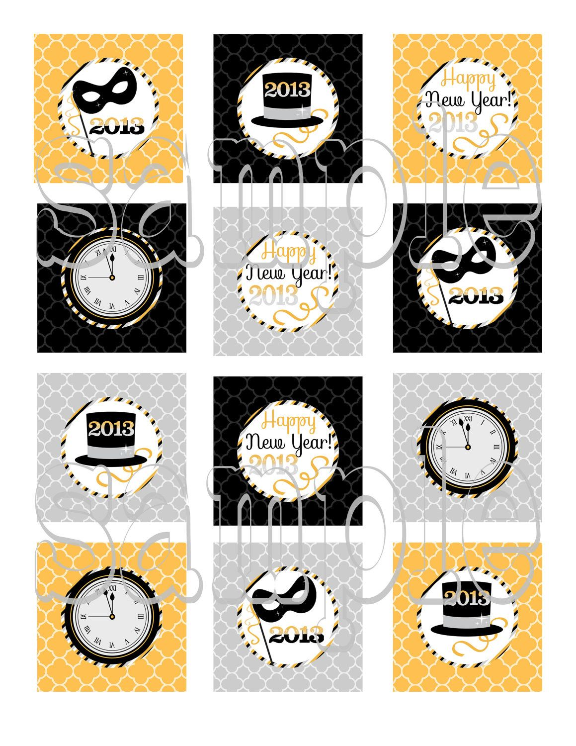 Happy New Year DIY Printable 2013 Party cupcake toppers ...