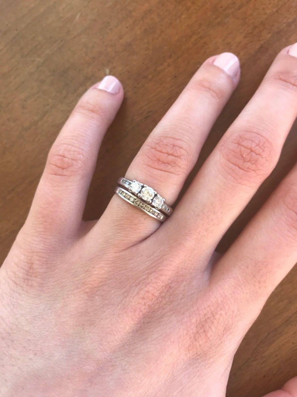 5ct 14k White Gold Engagement Ring & Wedding Band Set, size 4.5 ...