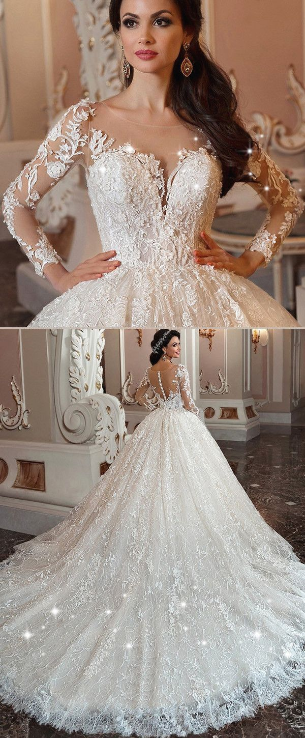 Wonderful winter theme wedding ideas lace applique ball gowns and