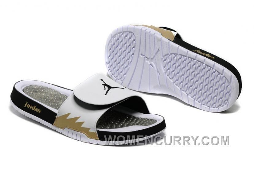 2017 Mens Air Jordan Hydro 5 White Black Gold Slide Sandals Super ... 5caff208f662