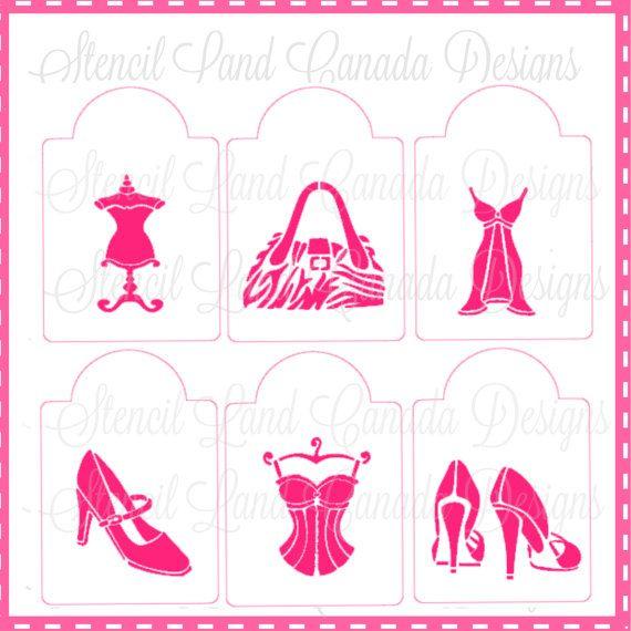 cookie stencils fashion girly designs set of 6