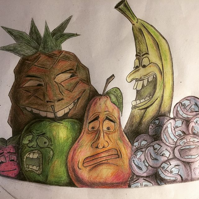 Making a trip home today i found this sketch i made when i was 16 years old.  #illustration #sketch #fruits #drawing #satire