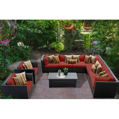 Tk Classics Barbados 10 Piece Sectional Seating Group With Cushions Cushion Color Terra With