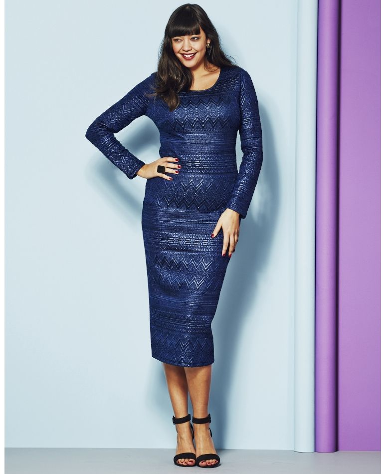 Gotta Have It Plus Size Jacquard Midi Dress From Simply Be