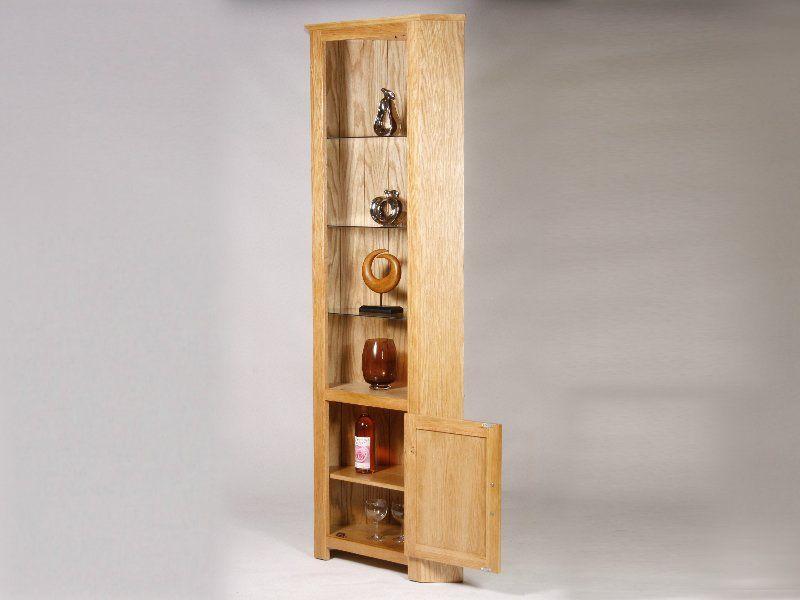 Elegant Utah Oak Tall Corner Unit With Open Top With Glass Shelves U0026 Light