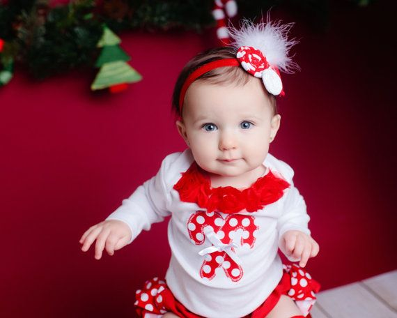 LONG SLEEVE Christmas white red polka dot by amysbuttonsandbows