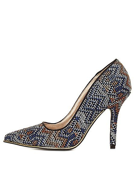 11ceb439371 Qupid Tribal-Woven Pointed Toe Pumps: Charlotte Russe #CRshoecloset #heels