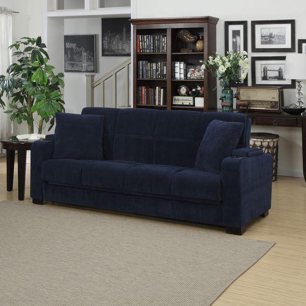 Portfolio Tevin Navy Blue Velvet Convert A Couch Storage Arm Futon Sofa Ping Great Deals On Sofas Loveseats