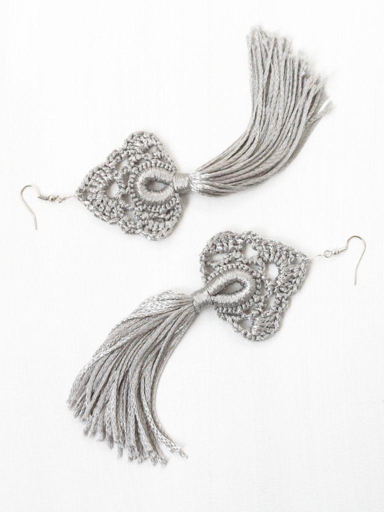 Tassel earrings Crochet jewelry Long dangling earrings Blue brown gray Hippie Gypsy Boho chic Bohemian wedding bridesmaid gifts Festival #gypsy