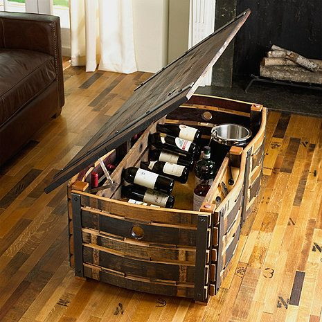 Hand Crafted Wine Barrel Stave Coffee Table Wine