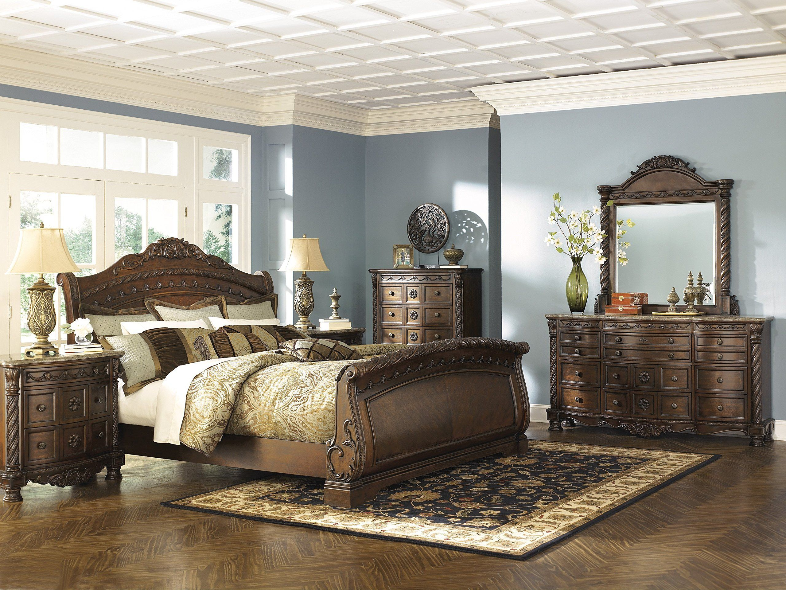 ashley north shore 5pc bedroom set e king sleigh bed dresser mirror