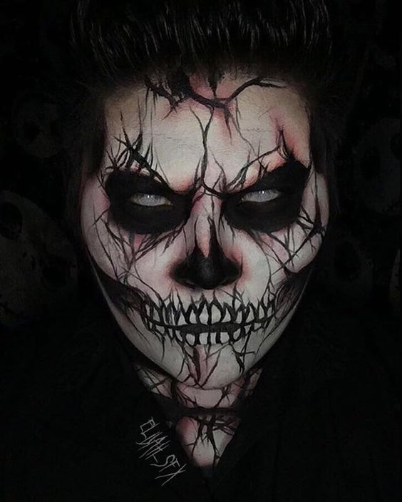13 Days Of Halloween Day 1 Cracked Skeleton Creepy Halloween Makeup Halloween Makeup Scary Halloween Costumes Makeup
