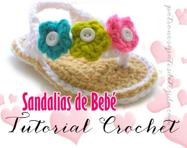 Crochet y Dos agujas: Aprende a tejer sandalias de bebé / Tutorial Ganch...