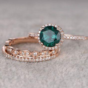 3pcs Emerald Engagement ring Set!14k rose gold,Diamond wedding band,7mm  Round